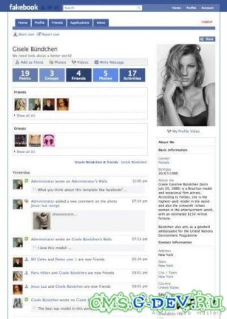 Шаблоны Fakebook + Вконтакте для Joomla 1.5 + JomSocial 1.8