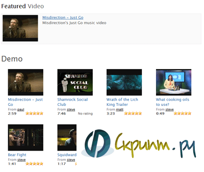 видео каталог для Joomla