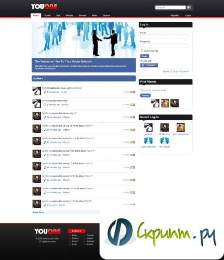 youone шаблон под SocialEngine 4