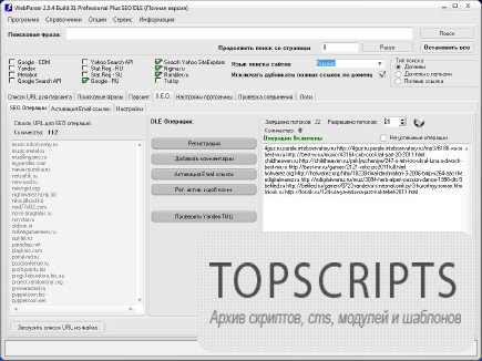 Универсальный парсер, анализ и продвижение сайтов WebParser Plus SEO 2.8.2 Build 19