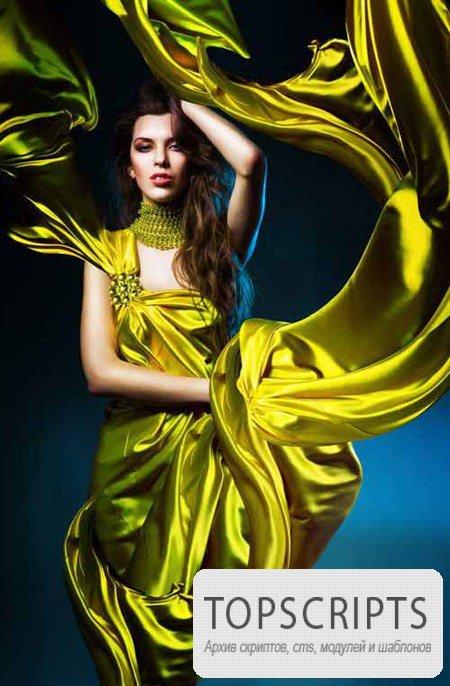 Сказочные девушки в платьях , колеблющихся на ветру