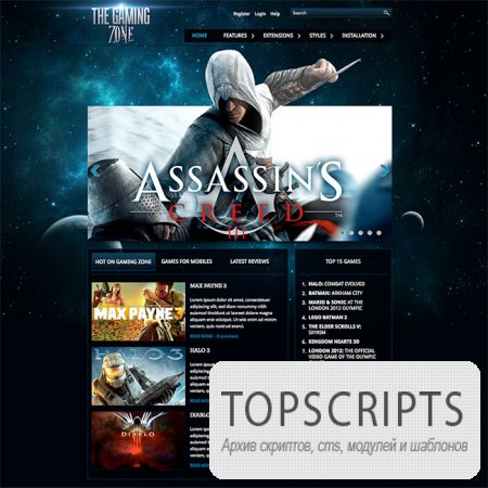 Шаблон HOT Gaming Zone для Joomla
