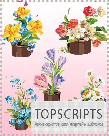 Клипарт для фотошопа - Рисованные цветы в горшках